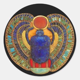 Escarabajo sagrado de Egipto antiguo Pegatina Redonda