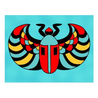 Escarabajo vibrante intrépido colorido egipcio del postales