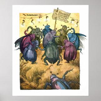 Escarabajos que celebran pleno verano poster