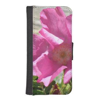 Escaramujo rosado cartera para iPhone 5