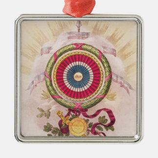 Escarapela, emblema de 1848 adorno navideño cuadrado de metal