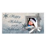 Escarchado buenas fiestas tarjetas fotograficas personalizadas