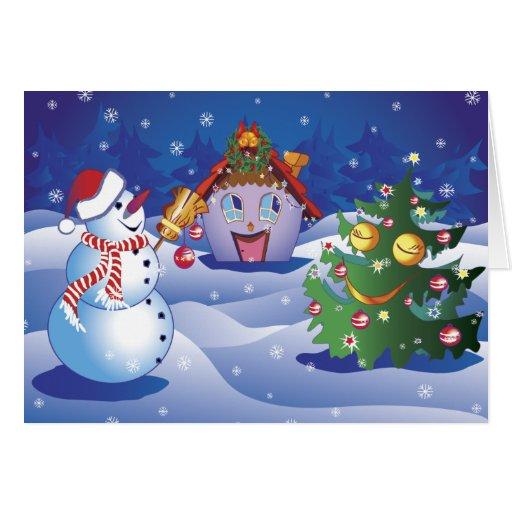 Escarchado el muñeco de nieve con una cabina y un tarjeta de felicitación