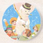 Escarchado el muñeco de nieve y los niños posavasos personalizados