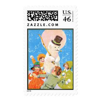 Escarchado el muñeco de nieve y los niños