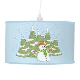 Escarchado la lámpara pendiente del muñeco de niev
