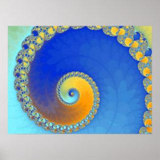 Escargot Bleu- Blue snail Poster