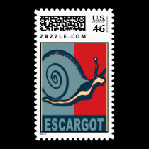 Escargot in Red and Blue stamps
