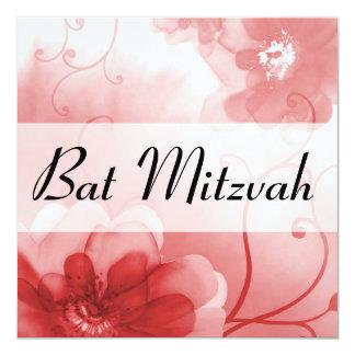 Escarlata elegante y palo gris Mitzvah de las Invitación 13,3 Cm X 13,3cm