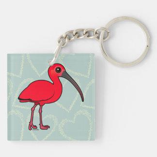 Escarlata Ibis de Birdorable Llavero Cuadrado Acrílico A Doble Cara
