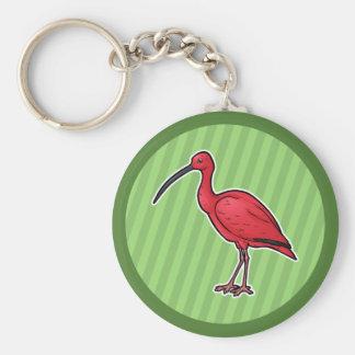 Escarlata Ibis Llavero Redondo Tipo Pin