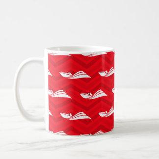 Escarlata rojo, blanco, Chevron, barco de la veloc Taza De Café