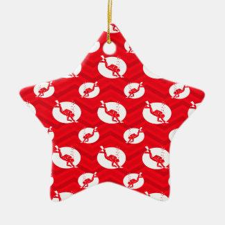 Escarlata rojo, blanco, Chevron, buceo con escafan Ornamento De Navidad