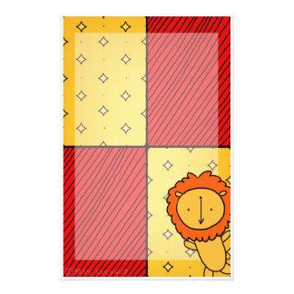 Escarlata y heráldica del oro con un león  papeleria de diseño