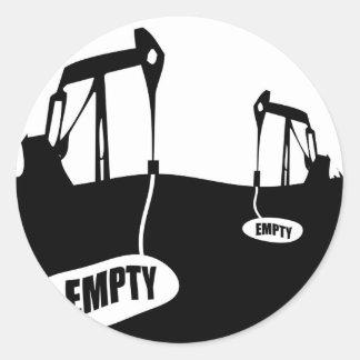 Escaseces inminentes del aceite pegatina redonda