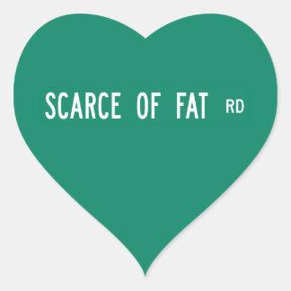 Escaso del camino gordo, placa de calle, Indiana, Pegatina En Forma De Corazón