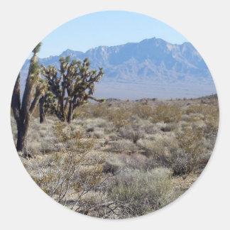 Escena 03 del desierto de Mojave Pegatina Redonda