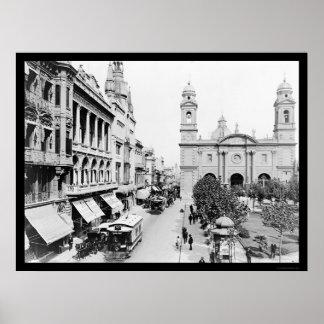 Escena 1906 de la calle de Montevideo, Uruguay Posters
