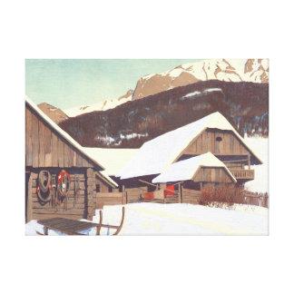 Escena 1910 del invierno impresión en lona