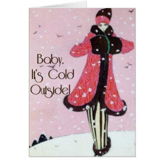 Escena 1913 de la moda del invierno del art déco tarjeta de felicitación