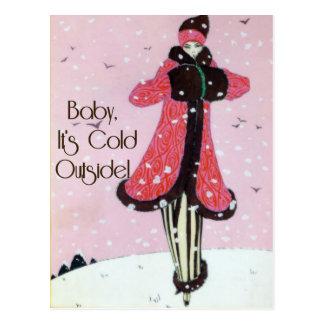 Escena 1913 de la moda del invierno del art déco tarjeta postal