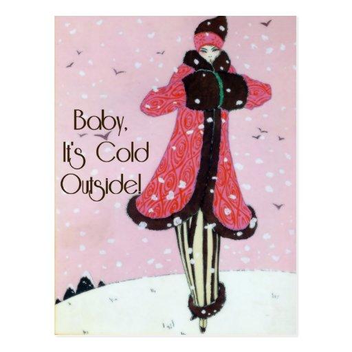 Escena 1913 de la moda del invierno del art déco postal