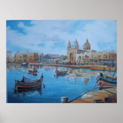 Escena 1 del puerto de Malta Póster