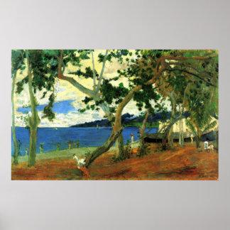 Escena 2 de la playa de Eugène Enrique Paul Gaugui Impresiones