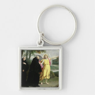 Escena a partir de la vida de St. Benedicto Llavero Cuadrado Plateado