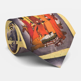 Escena africana de la natividad del navidad corbatas personalizadas