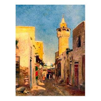 Escena africana del norte de la calle del vintage postales