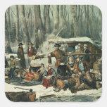 Escena americana del bosque - arce que azucara, 18 pegatina cuadradas