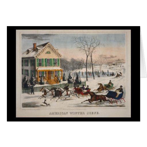 Escena americana del invierno tarjeta de felicitación