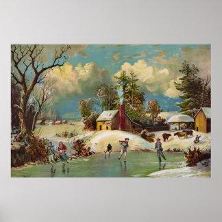 Escena americana del navidad de la vida del invier poster