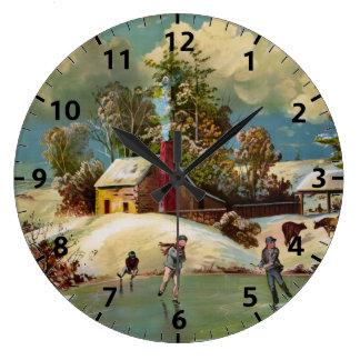 Escena americana del navidad de la vida del invier reloj de pared