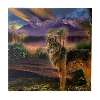 Escena animal abstracta del lobo teja cerámica