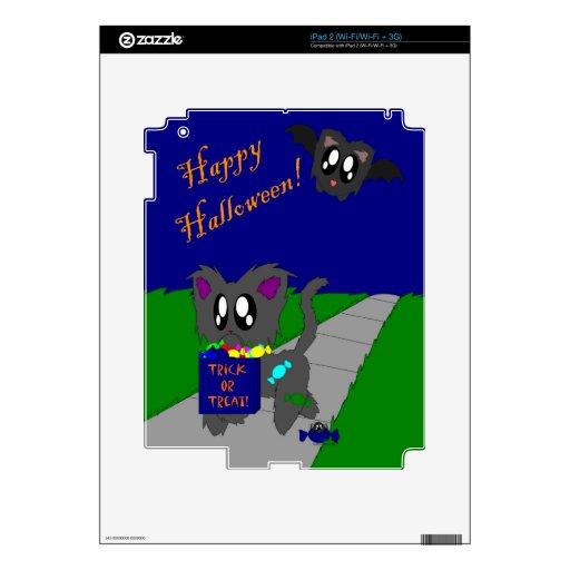 Escena animal desaliñada linda de Halloween Calcomanías Para iPad 2