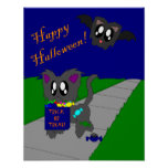 Escena animal desaliñada linda de Halloween Posters