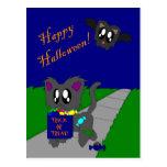 Escena animal desaliñada linda de Halloween Postal