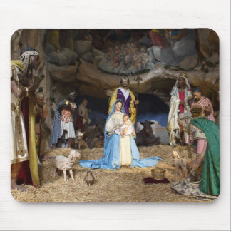 Escena antigua de la natividad del navidad mouse pad