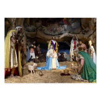 Escena antigua de la natividad del navidad tarjetas de visita grandes