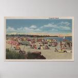 Escena apretada de la playa póster