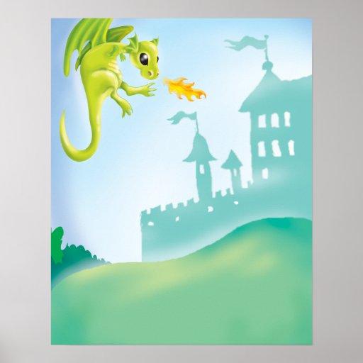 escena ardiente linda del dragón y del castillo posters