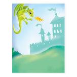 escena ardiente linda del dragón y del castillo postal