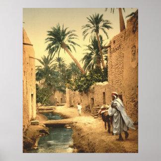 Escena argelina de la calle en Biskra viejo Poster