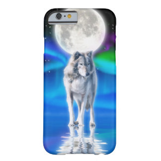 Escena ártica de la fauna del lobo gris y de la funda de iPhone 6 barely there