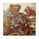 Escena asiática con el perro y el dragón del foo azulejo