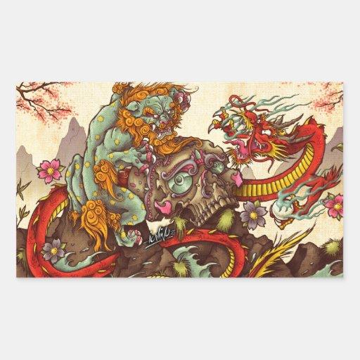 Escena asiática con el perro y el dragón del foo pegatina rectangular