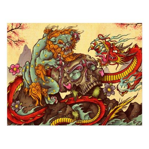 Escena asiática con el perro y el dragón del foo tarjeta postal