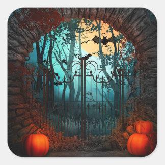 Escena asustadiza de Halloween (2) - personalizar Pegatina Cuadrada